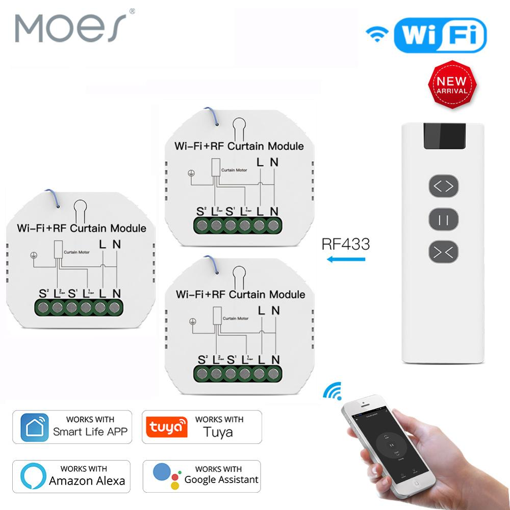 WiFi RF Smart Curtain Module Switch With Remote For Electric Roller Shutter Tuya Smart Life Google Home Alexa Smart Home