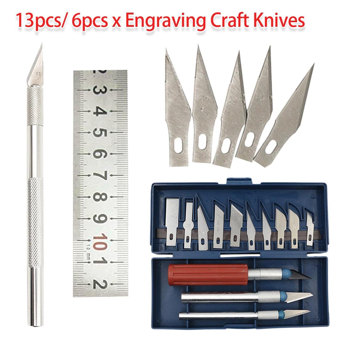 Cutter Engraving Craft Knives 13pcs/ 6pcs Metal Scalpel Knife Tool Kit For Mobile Phone PCB DIY Repair Tool Hand Tool Set