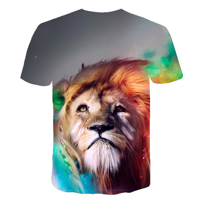 Summer men's T-shirt O-neck short-sleeved clothing Animal Lion 3D printing T-shirt Casual men's T-shirt