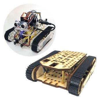 Wooden Tracked Tank Chassis Track Crawler RC Smart Robot Car Tracking Obstacle Avoidance DIY Kit doit rc metal tank chassis with bearings caterpillar tractor crawler intelligent robot car obstacle avoidance diy toy