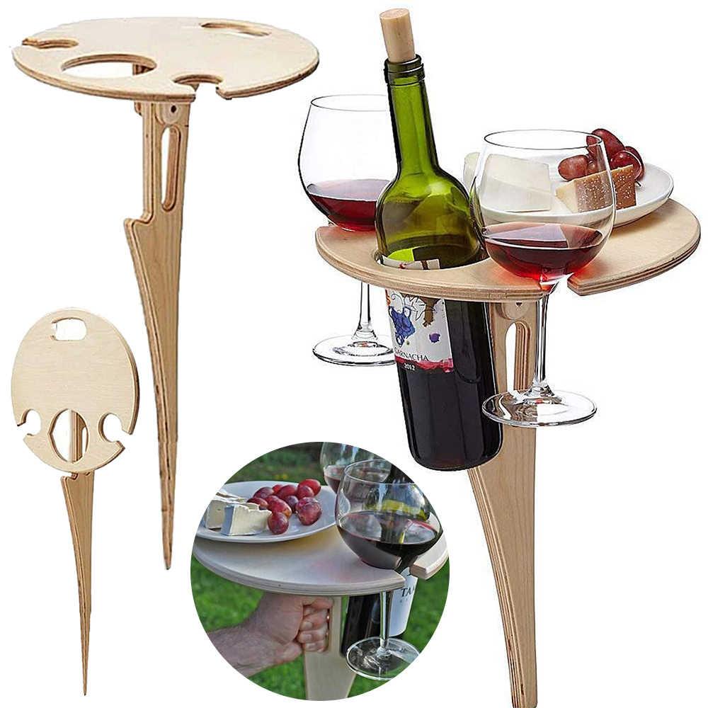 En bois-Vin de table table pliante-Handmade