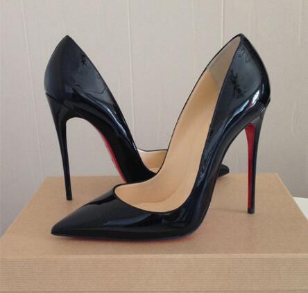 Sapatos de casamento de couro real dos clássicos do salto fino do dedo apontado 8cm 10cm 12cm das sapatas de salto alto vermelhas das mulheres das bombas da marca de luxo com logotipo