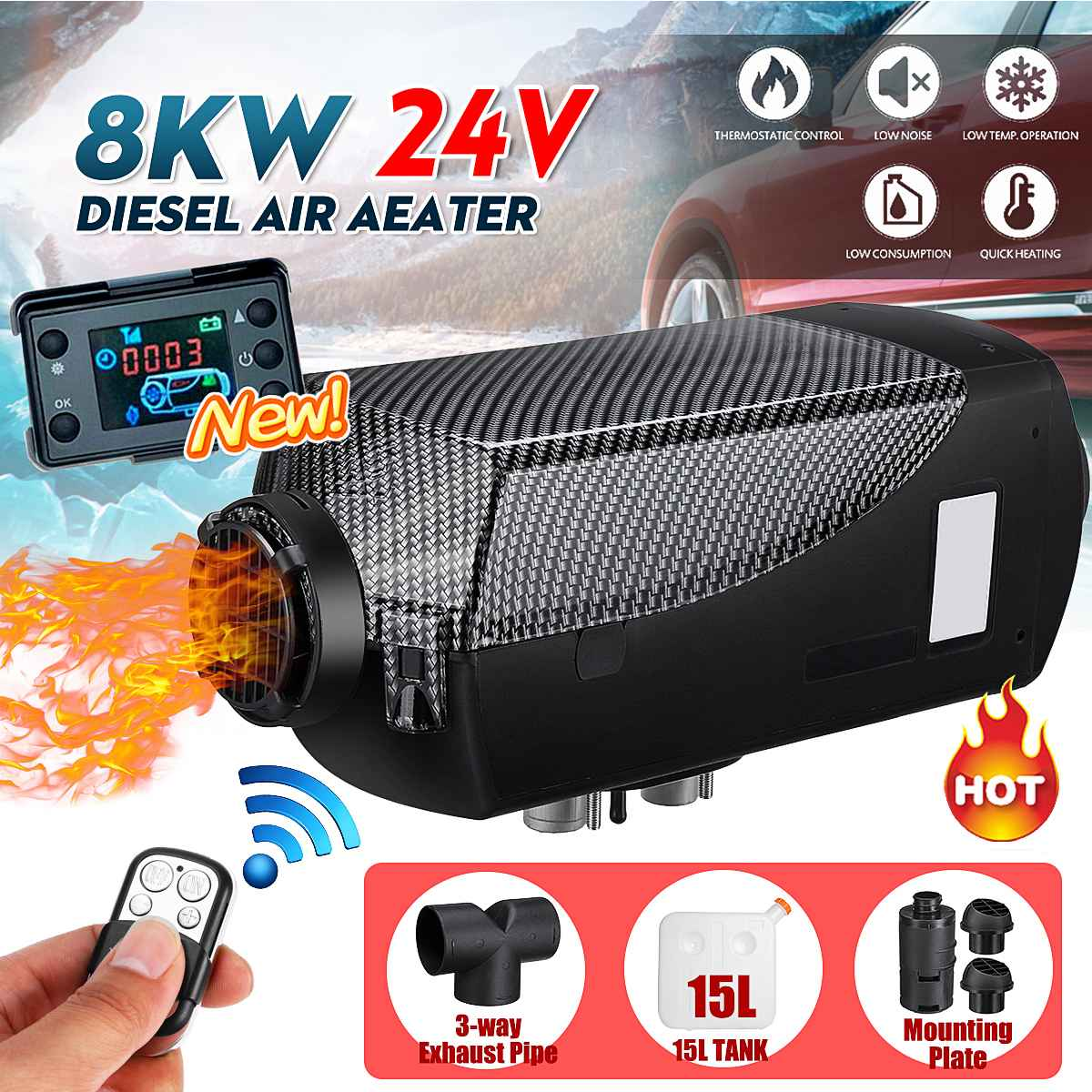 Car Heater 24V 8KW Air Diesel Parking Heater Car RV Motorhome Trailer Trucks Boats+LCD Switch Remote+<font><b>15L</b></font> <font><b>Tank</b></font>+Tee accessories image