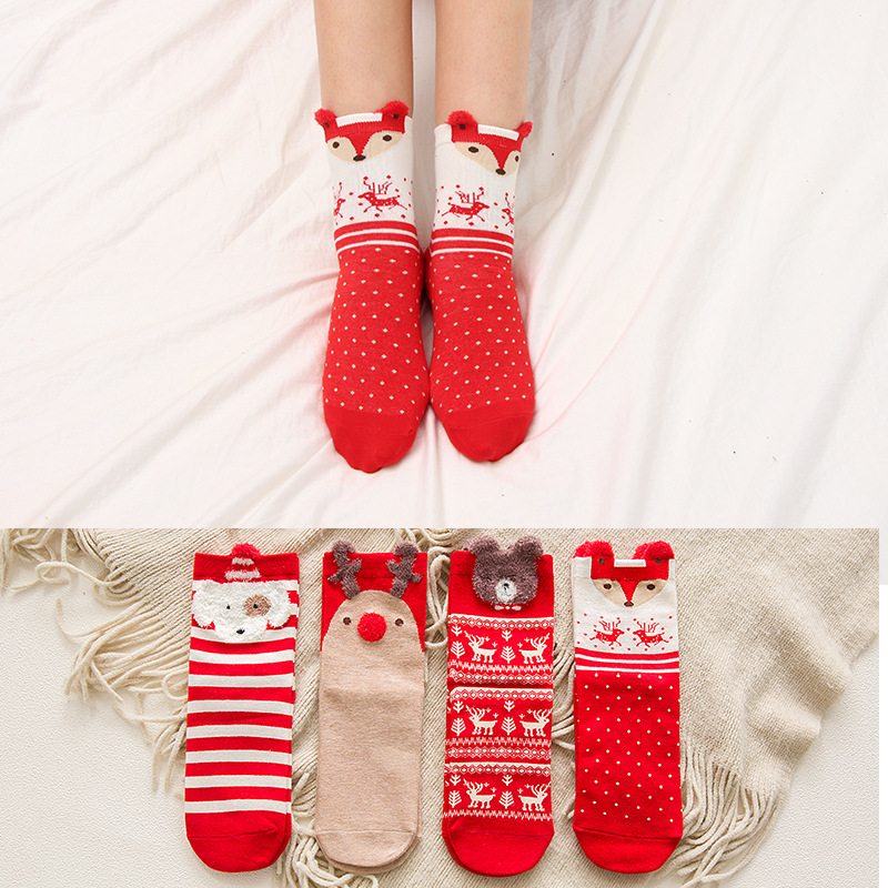 Christmas Woman Socks Cartoon Santa Claus Elk Animal Pattern Socks Holiday Warm Fashion Cartoon Christmas Socks 1 Pair