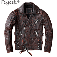 Tcyeek Streetwear Natural Real Cow Leather Coat Men Clothes 2020 Motorcycle 100% Genuine Leather Jacket Man Hommes Veste 1928(China)