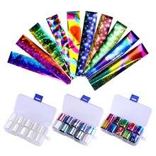 10 шт Голографическая фольга для ногтей, набор прозрачных AB цветов, переводная наклейка для нейл-арта 2,5*100 см, маникюрные наклейки для самостоятельного маникюра, декоративные наклейки