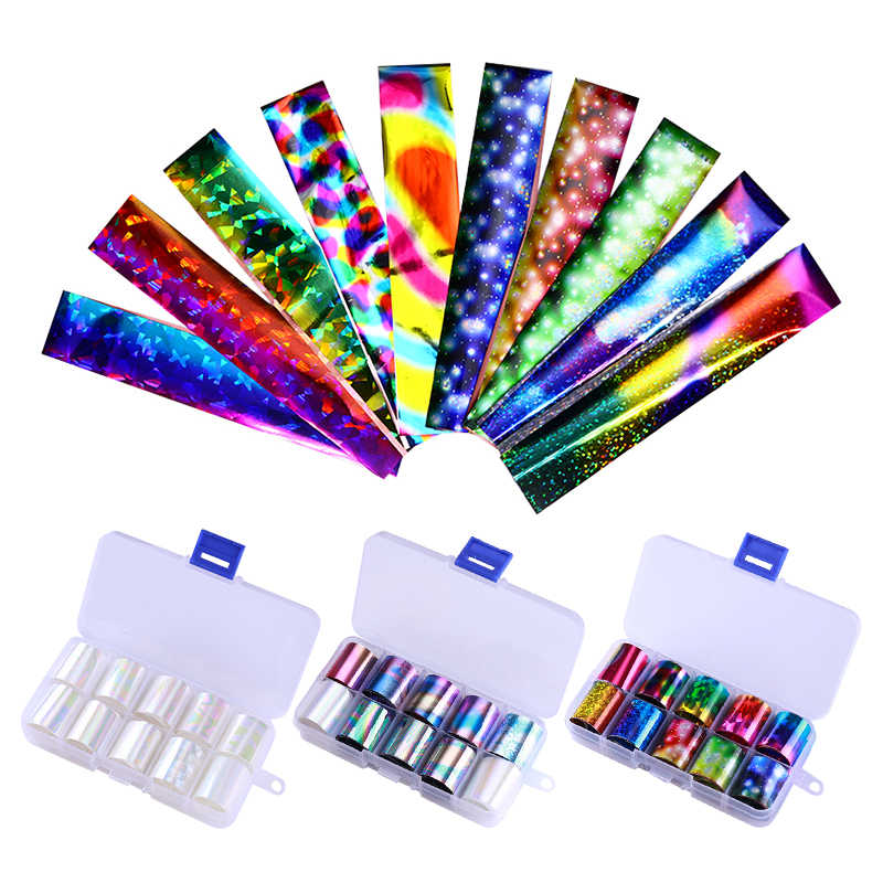 10 Pcs Holographic Nail Foil Set Transparent AB Color Nail Art Transfer Sticker 2.5*100cm Manicure DIY Tips Sticker Decoration