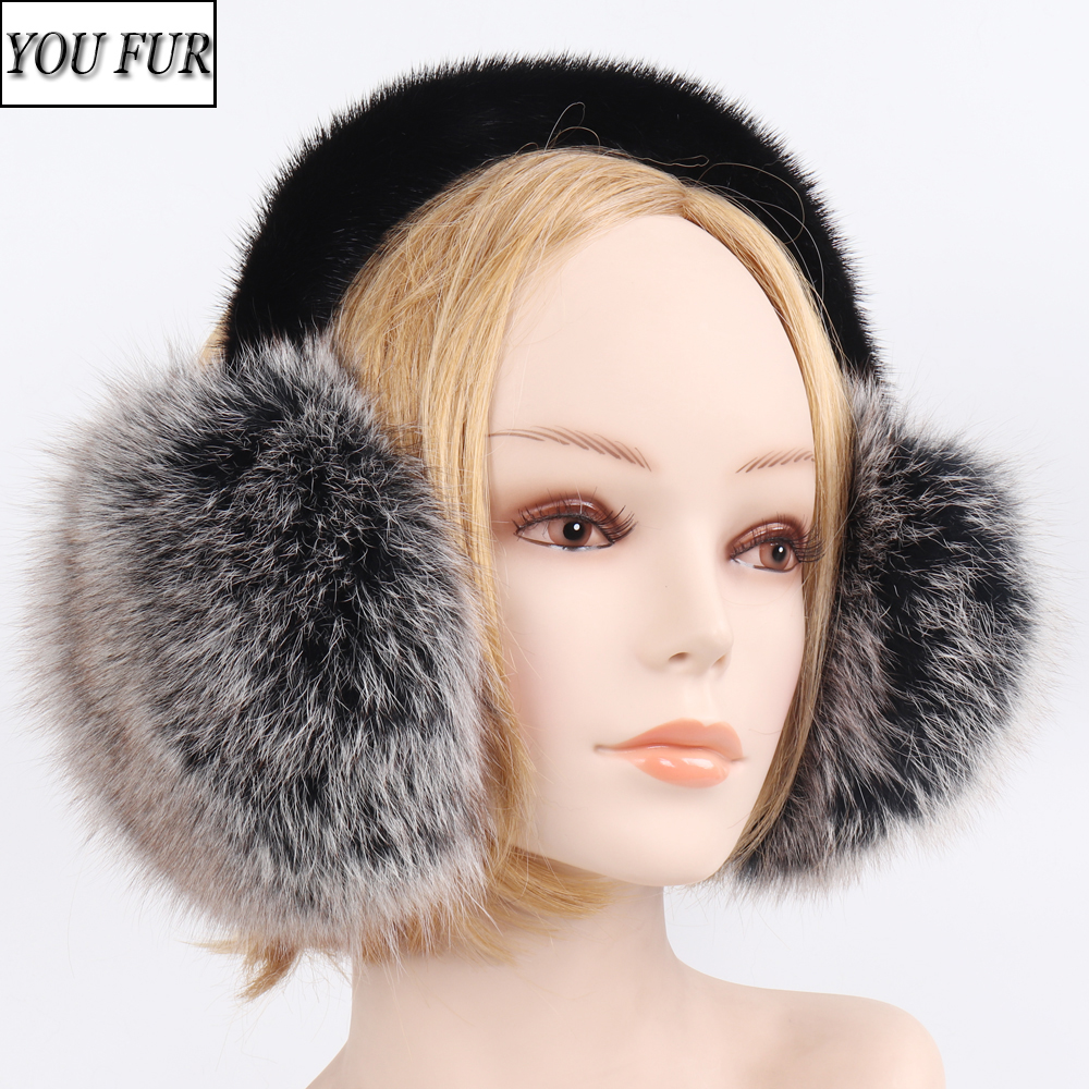 Fox Fur Earmuffs Winter Women Warm Plush Big 100% Natural Fox Fur EarMuff Fluffy With Real Mink Fur Earlap Lady Real Fur Earflap