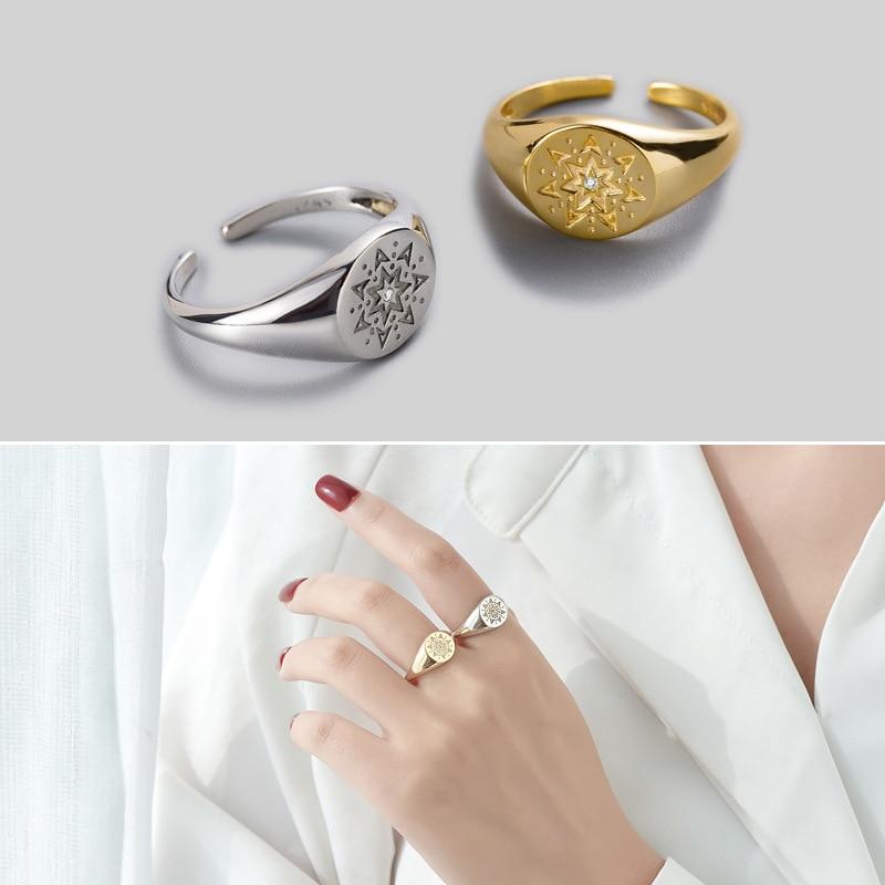 Купить leouerry 925 пробы серебряные креативные кольца с гравировкой