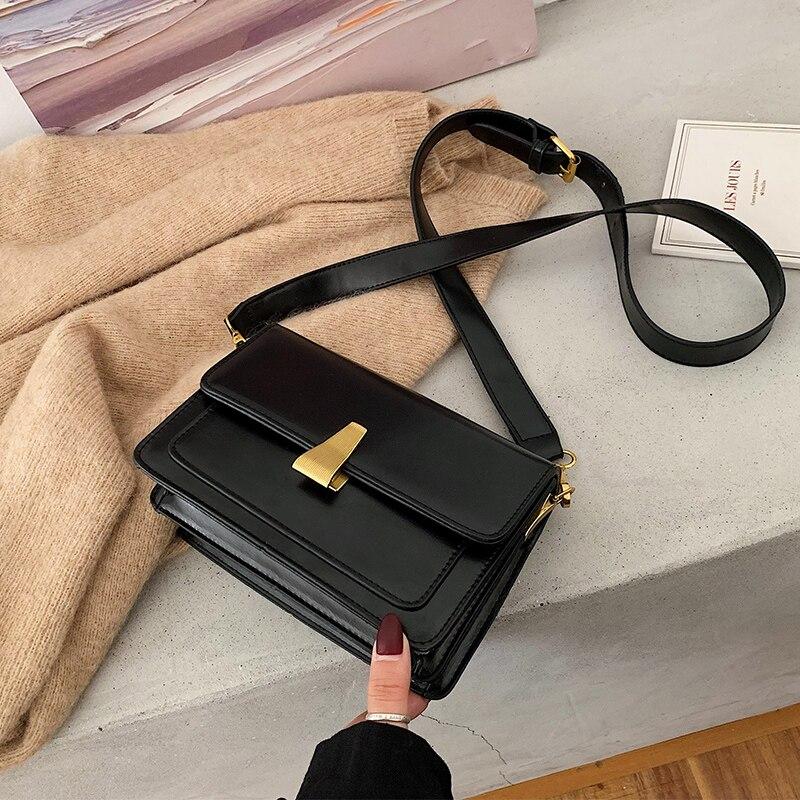 High Level Sense Net Red Small Black Bag Women 2020 New Fashion Korean Version Versatile Messenger Bag Simple Retro Square Bag