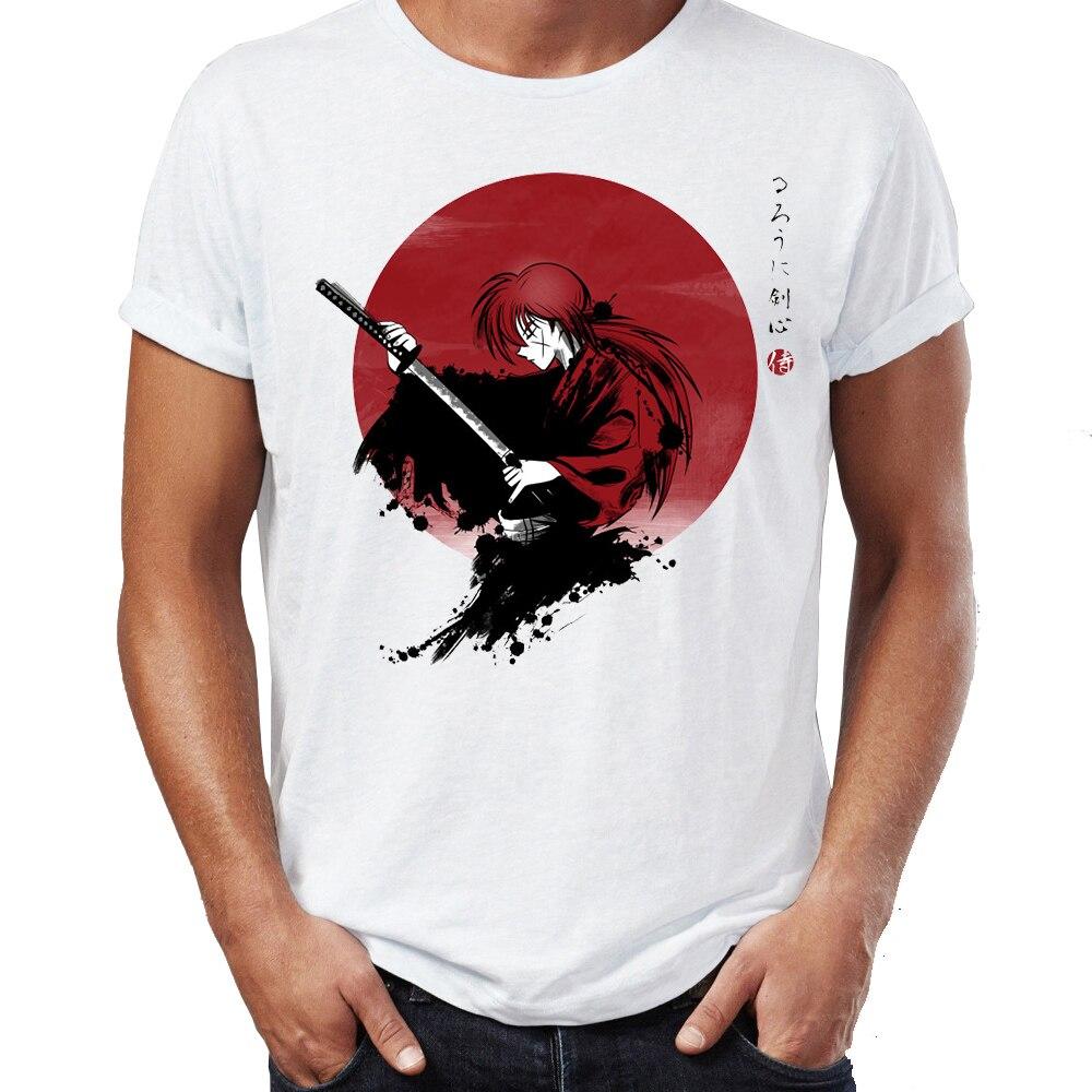 Hip Hop Men T-shirts Rurouni Kenshin Manga Anime Artsy Awesome Artwork Printed Street Guys Tops & Tees Swag 100% Cotton Camiseta