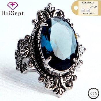 Anillo de plata HuiSept Vintage 925, joyería de gran Forma ovalada, zafiro, gemas, anillos para hombre y mujer, regalos de boda, venta al por mayor