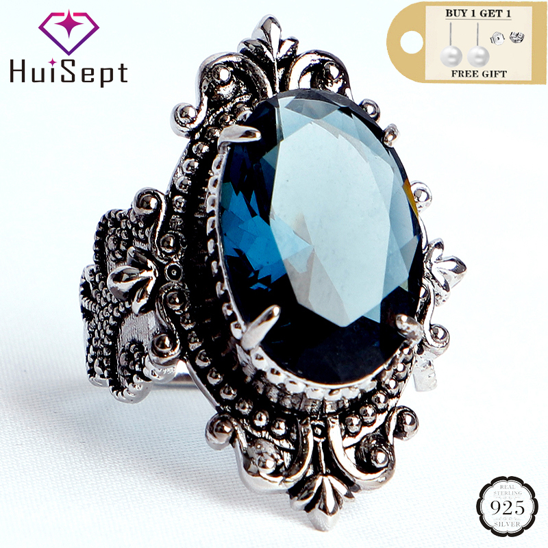 HuiSept Vintage 925 Silver Ring Jewellery Big Oval Shaped Sapphire Gemstones Rings for Male Female Wedding Party Gifts Wholesale