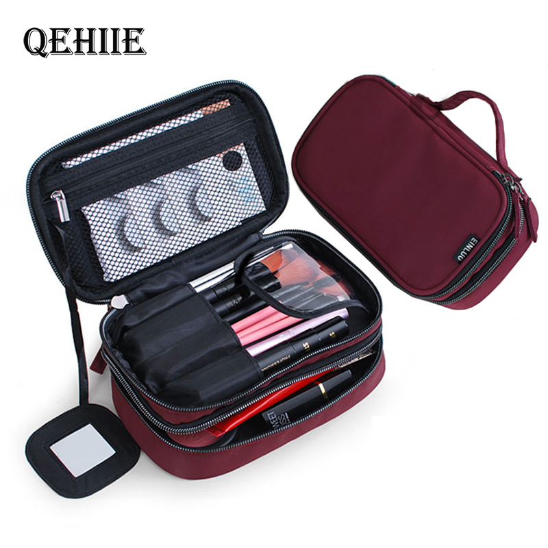 Brand Travel Cosmetic Bag Nylon Waterproof Double-Layer Mini Woman Makeup Box Fashion Designer Purse Organizer Toiletry Bag Gift