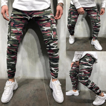 Men's Camouflage Jeans Man Army Green Skinny Pencil Pants Jean MILITARY Denim Trousers Multi-Pockets Elastic Cargo Jeans Hombre army green side pockets v neck short sleeves camouflage dress