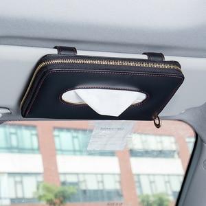 Image 5 - Yüksek kaliteli araba oto güneşlik doku kutusu kağıt peçete tutucu iç aksesuarları havlu asılı tipi deri Patere lüks