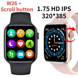 Смарт-часы 202I W26 + с кнопкой в рулоне, спортивные Смарт-часы с поддержкой Bluetooth, ЭКГ, для Android, IOS, IWO13, для мужчин и женщин, W26 PLUS
