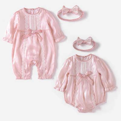 2 adet bebek Bodysuit uzun kollu yenidoğan yay dantel tulum + kafa bandı yaz bebek kız pembe tulum yay bebek pijama