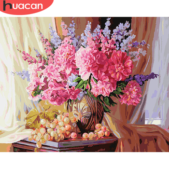 HUACAN DIY Oil Painting Flowers Kits Drawing Canvas HandPainted Pictures By Numbers Home Decoration Gift