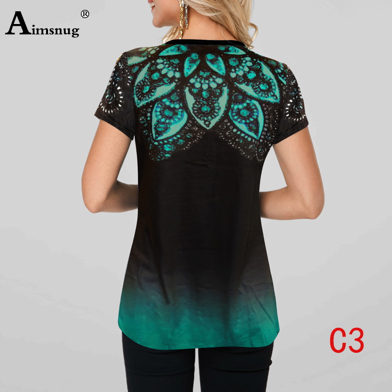 Ha549880a996447d7aed3eaf7cfd9b9408 - Plus size 4xl 5xl Women Fashion Print Tops Round Neck Short Sleeve Boho Tee shirts New Summer Female Casual Loose T-shirt