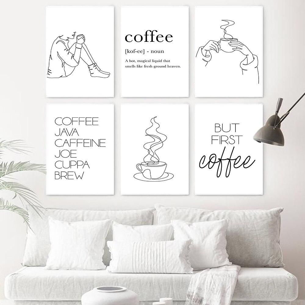 Настенная картина в скандинавском стиле с изображением кофейного бара, черная, белая Минималистичная кухонная Картина на холсте, Постер для кафе и магазина, Настенный декор