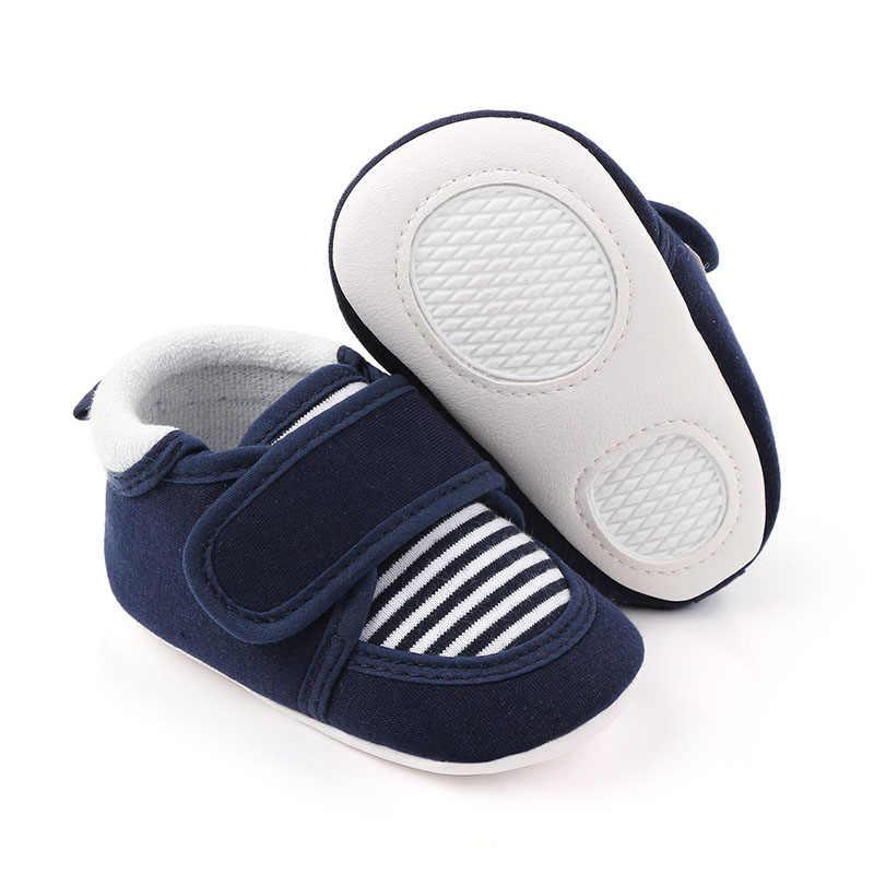 Zapatos de algodón de calidad para bebé recién nacido, suela de goma antideslizante a rayas de Color sólido, zapatos para primeros pasos para bebé, niño, niña