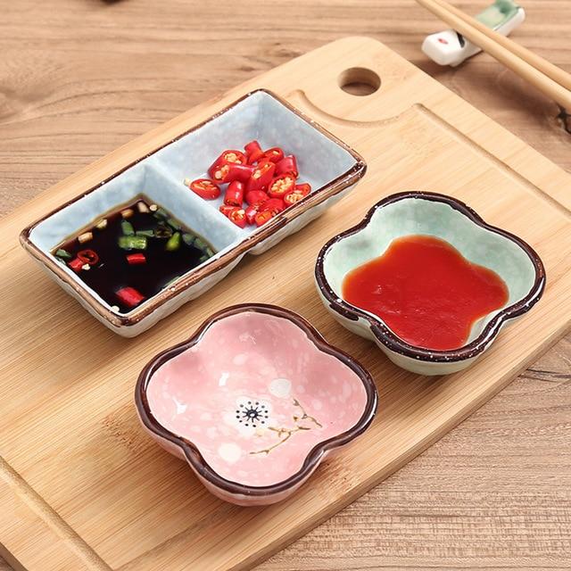 1 PC Creative ceramics  seasoning small dish Round Polygon square Japanese style color sauce sauce dish seasoning plate 1