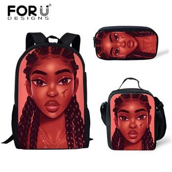 FORUDESIGNS Girls School Bags African Black Girls Hairstyle School Backpack Set Scool Bag For Girl Kids Girl Backpack Junior Bag 34