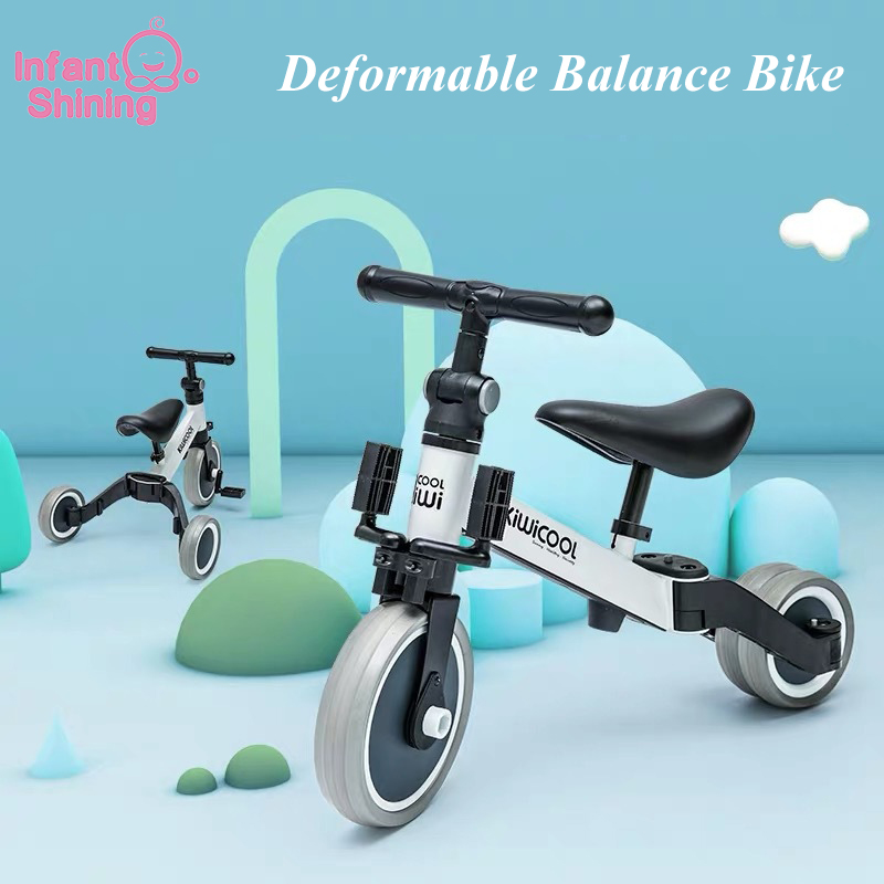 Bebek Shining çocuk üç tekerlekli bisiklet 3-in-1 çocuk Scooter denge bisikleti 1-6 yıl binmek araba 3 tekerleklerde olmayan şişme