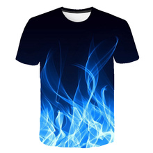 Men Women Casual Fashion 3D flame T-Shirt 2019 New Summer Cu