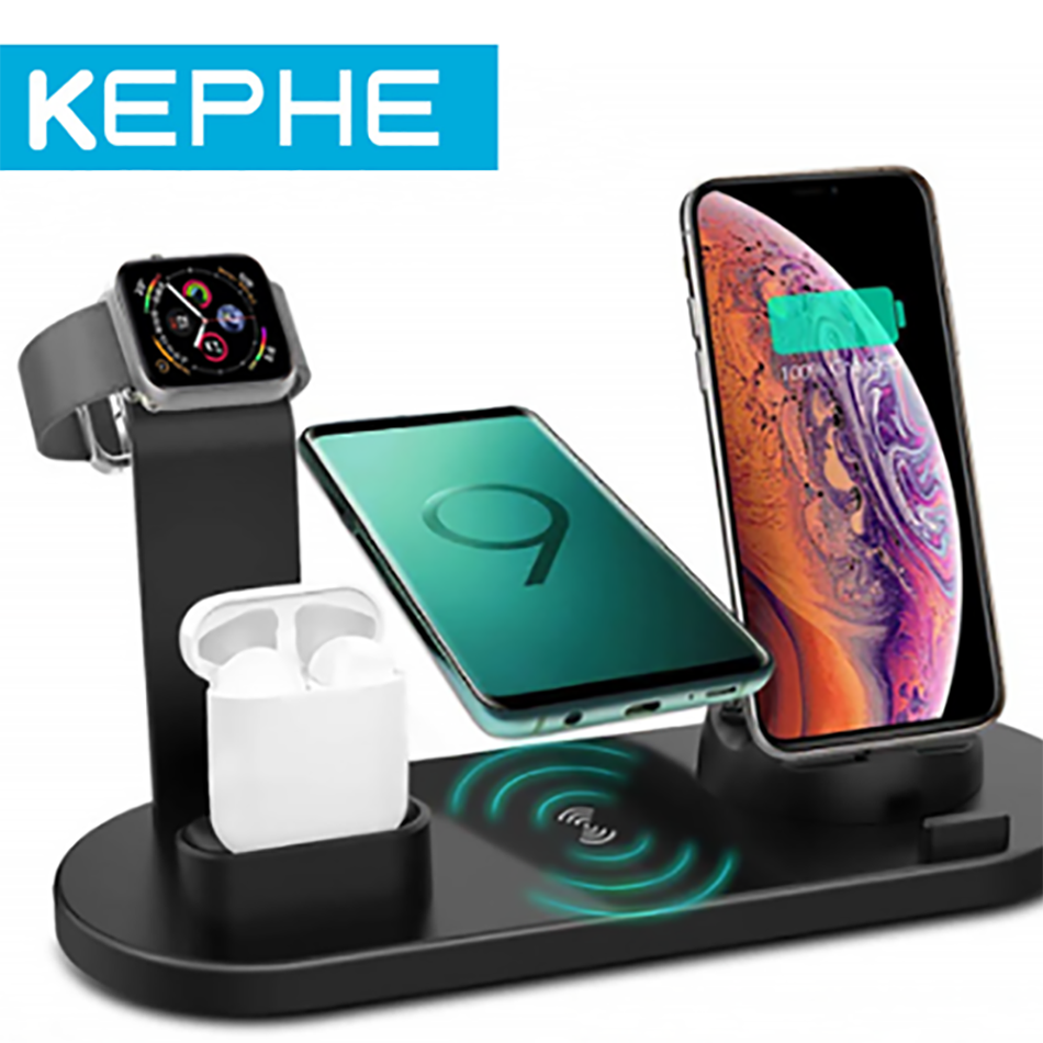 KEPHE 4 in 1 Qi Wireless Charger For iPhone 11 X XS XR 8 10W USB Type C Fast Charging Dock Stand for Apple Watch 5 4 3 2 Airpods