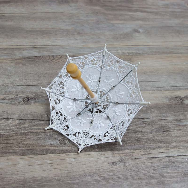 Newborn Baby Photography Props Embroidery Lace Umbrella Toy Infant Shooting Prop K1KC