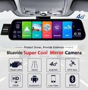 """Image 2 - Bluavido 10 """"araba dikiz aynası 4G Android 8.1 Dash kamera GPS navigasyon ADAS FHD 1080P araba Video kamera kaydedici DVR uzaktan görünümü"""