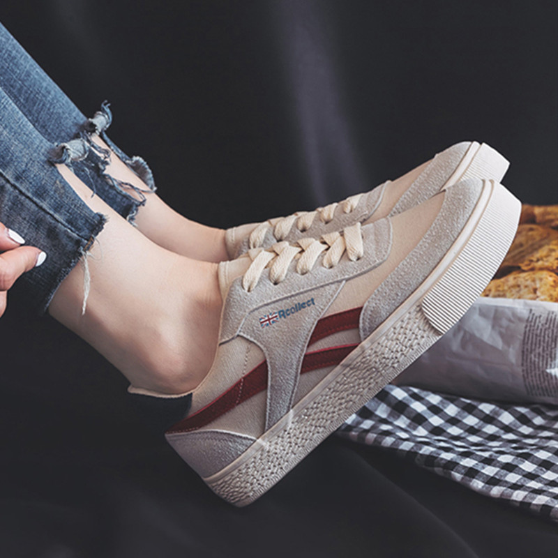 QWEDF 2019 Spring Autumn Women Canvas Shoes Lace Up Casual Shoes  Comfortable Female Shoes Fashion Women's Sneakers LM-13