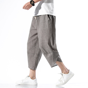 Men Solid Thin Summer Harem Pants Mens 2020 Loose Calf-Length Trousers Male Wide Leg Korean Style Vintage Pants Dropshipping