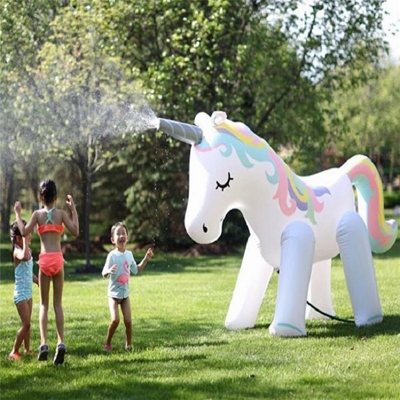 Inflatable Unicorn Water Spray Outdoor Splash Water Facility Water Spray Rainbow Horse Fountain Children Party Toys Hight 125cm