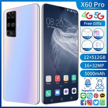 "X60 Pro versión Global Smartphone Quad Cámara 32MP Smartphone 6,6 ""12GB + 512GB 5000mAh Android 10,0 5G LTE para móvil teléfono"