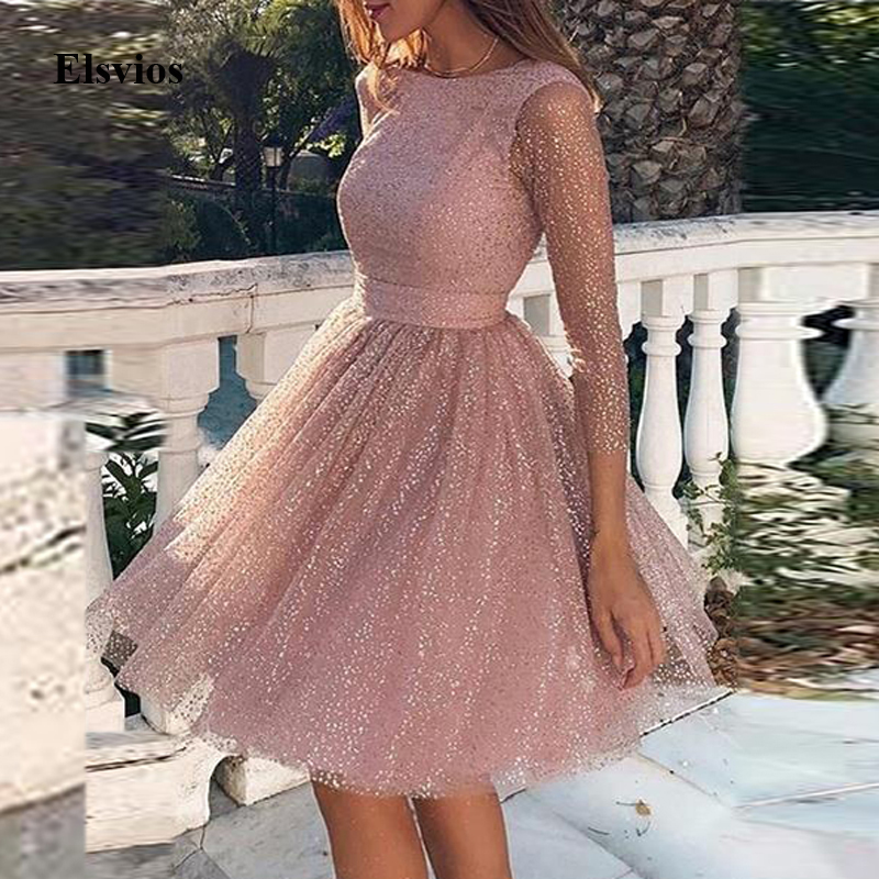 Elegant Women O-Neck Party Dress Sexy Backless Lace A-Line Princess Dress Spring Ladies Transparent Sleeve Mesh Mini Dresses 3XL