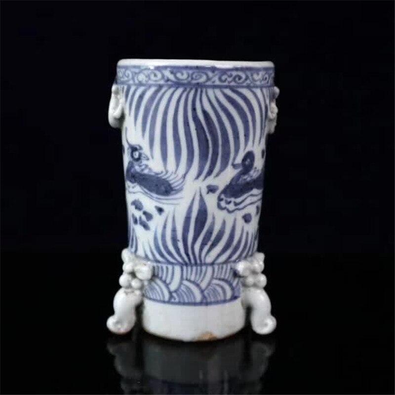 Jingdezhen bleu et blanc porcelaine ronde stylo conteneur mandarine canards jouant à l'eau peinture Double oreilles stylo conteneur