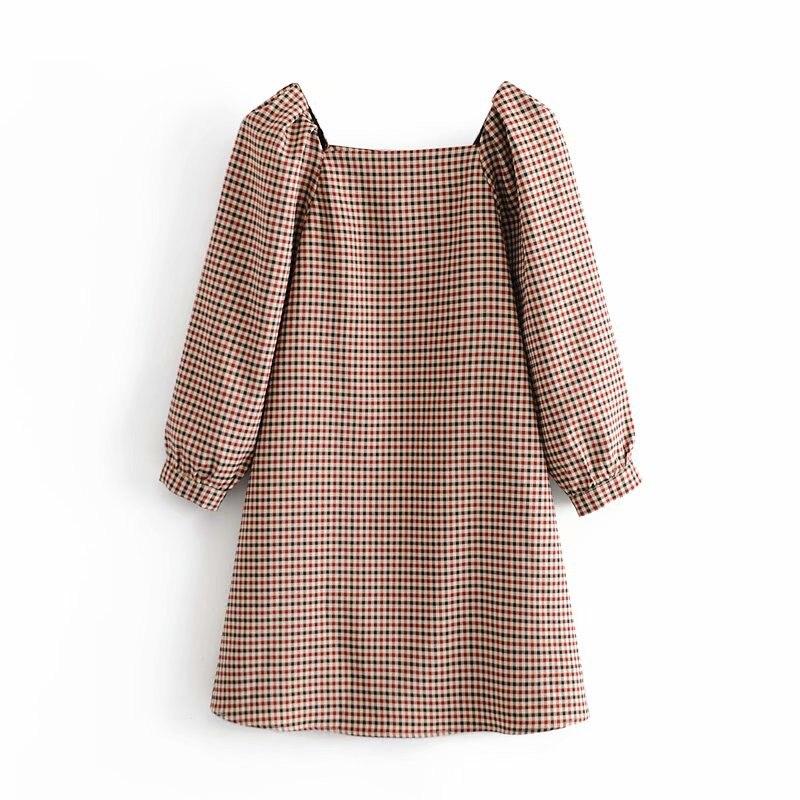 Элегантное женское винтажное платье в клетку 2020 модное женское платье с квадратным воротником уличное женское свободное платье для девочек шикарное платье|Платья| | АлиЭкспресс - Трендовые вещи из сериала «Эмили в Париже»