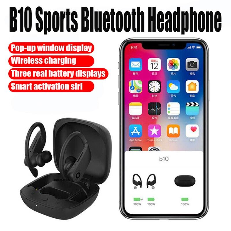 Esportes fones de ouvido suport wirless carregamento fones animados pop-up bluetooth 5.0 fone de ouvido handsfree fone de ouvido com microfone gancho capa