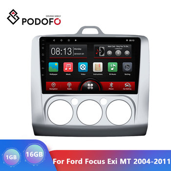 Podofo 9 inch Android 9.1 Car Radio Для форд фокус Exi MT 2004-2011 2din android GPS Multimedia Player 2.5D Screen автомагнитола image