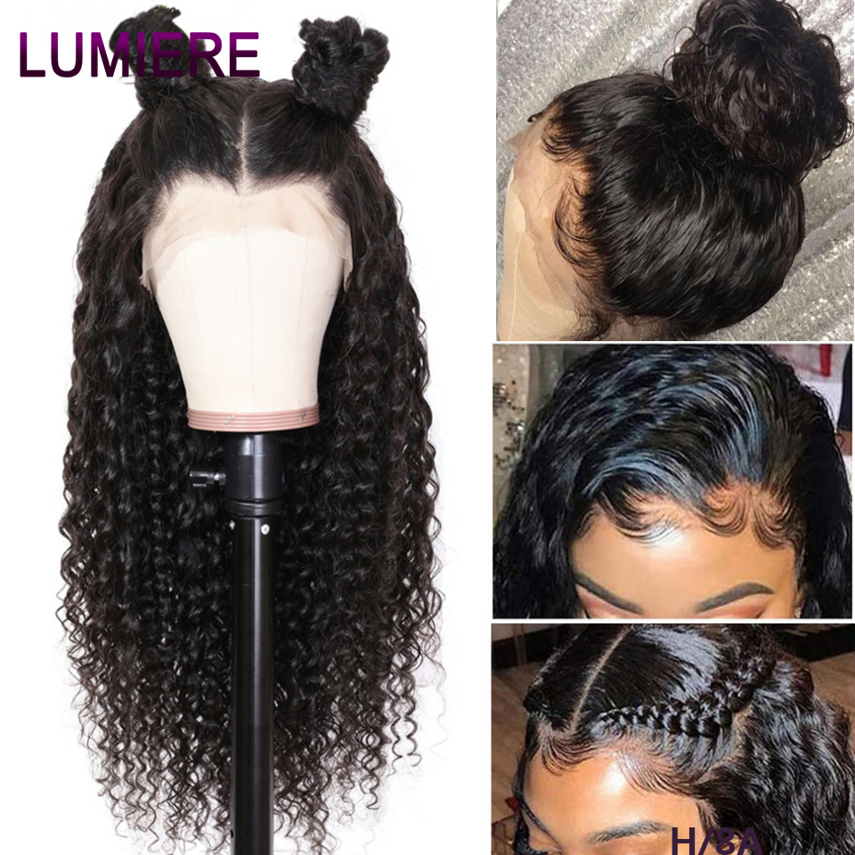 Lumiere Hair 360 Lace Frontal Wig Peruvian Kinky Curly 100% Human Hair Wigs Pre-Plucked With Baby Hair Remy Natural Black 150%