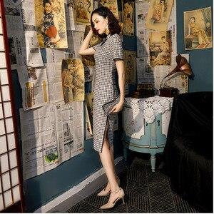 Image 5 - Qipao chino a cuadros blanco y negro, vestido de algodón hasta la rodilla, Cheongsam, disfraz de estilo universitario chino, vestidos de mujer Vintage Qipao