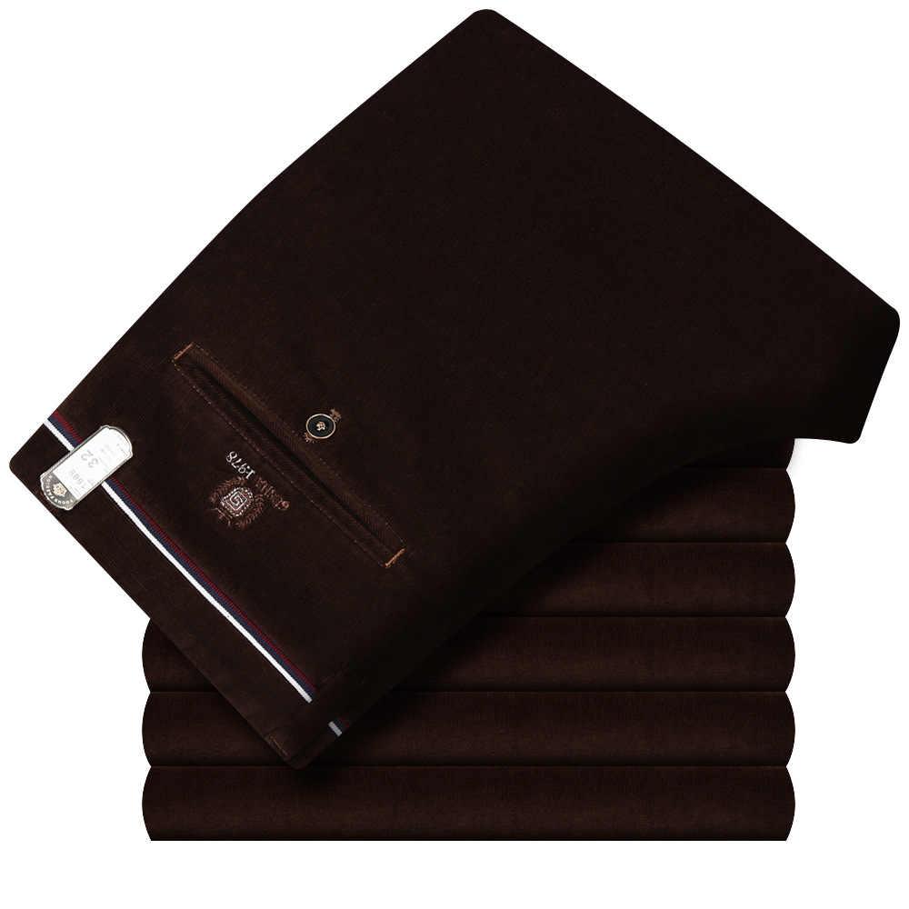 Sonbahar kış yeni düz ince streç erkekler kadife pantolon düz slacks erkek rahat elastik kalınlaşmak kadife pantolon boyutu 29- 40