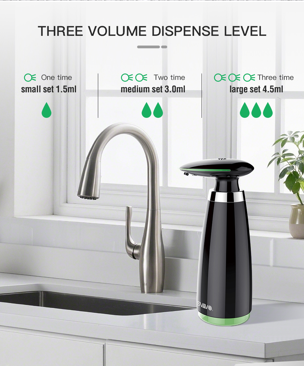 Ha54b184bea6f479cb28bf49f98e896ebi SVAVO 350ml Automatic Soap Dispenser Infrared Touchless Motion Bathroom Dispenser Smart Sensor Liquid Soap Dispenser for Kitchen