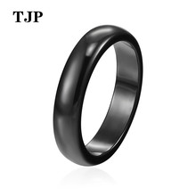 Fashion Ceramic Jewelry wide 4mm Top Quality Beautiful Black White Blue Smooth Radiant Ring For Women Girl Charm jewelry