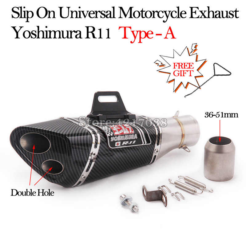 slip on universal yoshimura r11 motorcycle exhaust pipe modified escape moto 51mm for r3 r6 s1000rr ninjia400 er6n z900 cbr250rr