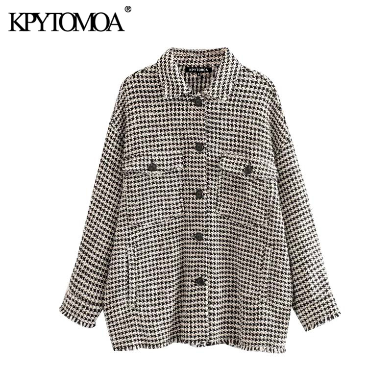 Vintage Stylish Frayed Tassel Oversized Tweed Plaid Jacket Coat Women 2020 Fashion Long Sleeve Pockets Outerwear Chic Tops