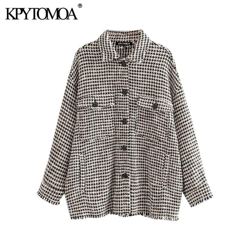 Vintage Stylish Frayed Tassel Oversized Tweed Plaid Jacket Coat Women 2020 Fashion Long Sleeve Pockets Outerwear Chic Tops